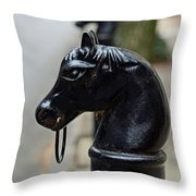 Horses On Delancey Street Throw Pillow by Lisa Phillips