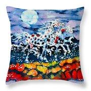 Horses Prance On Flower Field In Summer Moon Throw Pillow