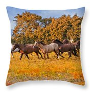 Horses Running Free Throw Pillow