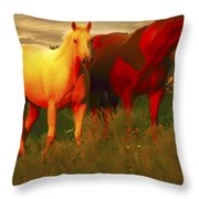 Horses Soft And Sweet Throw Pillow