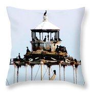 Horseshoe Reef Lighthouse Throw Pillow