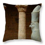 Horus Temple Of Edfu Egypt Throw Pillow by Bob Christopher