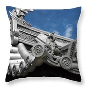 Horyu-ji Temple Roof Gargoyles - Nara Japan Throw Pillow