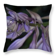 Hosta Blossoms With Dew Drops Throw Pillow