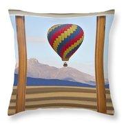 Hot Air Balloon Colorado Wood Picture Window Frame Photo Art Vie Throw Pillow