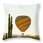 Hot Air Balloon In The Arizona Desert With Giant Saguaro Cactus Throw Pillow