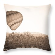 Hot Air Balloon On The Arizona Sonoran Desert In Bw  Throw Pillow