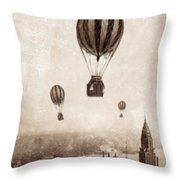 Hot Air Balloons Over 1949 New York City Throw Pillow