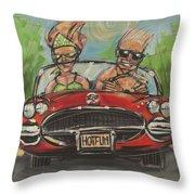 Hot Fun Corvette Throw Pillow
