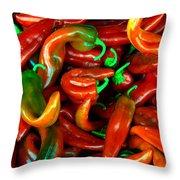 Hot Peppers Throw Pillow by Robert Bales