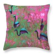 Hot Pink Flamingos Garden Abstract Art  Throw Pillow