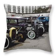 Hot Rod Row Throw Pillow