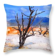Hot Spring Trees Throw Pillow