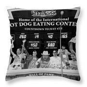 Hotdog Eating Contest Time In Black And White Throw Pillow