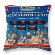 Hotdog Eating Contest Time Throw Pillow