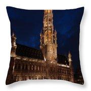 Hotel De Ville De Bruxelles At Night Throw Pillow