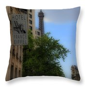 Hotel Eiffel Throw Pillow