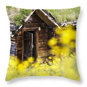 House Behind Yellow Flowers Throw Pillow