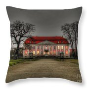 House Illuminated And With Trees Branches Throw Pillow