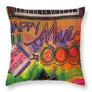 House Of Happy Music Throw Pillow