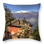 House On The Lake Front Throw Pillow