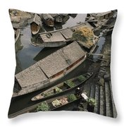 Houseboats Line A Waterway Throw Pillow