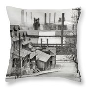 Houses And Steelmill Throw Pillow