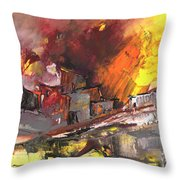 Houses In Fire Throw Pillow