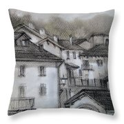 houses in Fiumalbo Throw Pillow