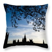 Houses Of Parliament Silhouette Throw Pillow