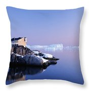 Houses On The Coastline With Icebergs Throw Pillow