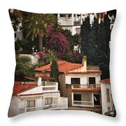 Houses On The Hill Nerja Throw Pillow by Mary Machare