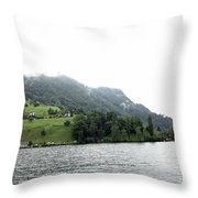 Houses On The Slope Of A Mountain Next To Lake Lucerne Throw Pillow