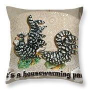 Housewarming Invitation - Black And White Chickens Figurines Throw Pillow