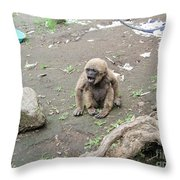 Howling Baby Monkey Throw Pillow