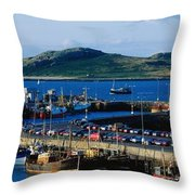 Howth Harbour & Irelands Eye, Co Throw Pillow