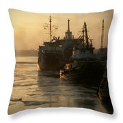 Huddled Boats Throw Pillow