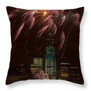 Hudson River Fireworks X Throw Pillow