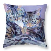 Hugs Purrs And Stripes Throw Pillow by Kimberly Santini