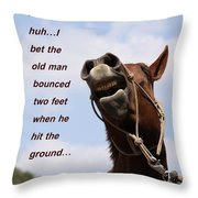 Huh Huh Horse Card Throw Pillow