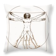 Human Body By Da Vinci Throw Pillow