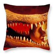 Human Skull  Alligator Skull Throw Pillow by Garry Gay