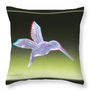 Hummingbird - Use Red-cyan 3d Glasses Throw Pillow