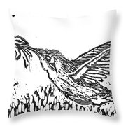 Hummingbird  Block Print Throw Pillow by Ellen Miffitt