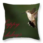 Hummingbird Holiday Card Throw Pillow