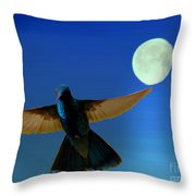 Hummingbird Moon II Throw Pillow by Al Bourassa