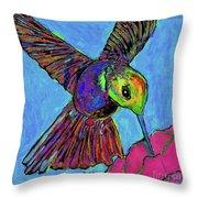 Hummingbird On Blue Throw Pillow