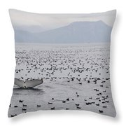 Humpback Whale Diving Amid Seabirds Throw Pillow