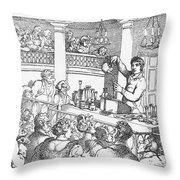 Humphrey Davy Lecturing, 1809 Throw Pillow by Science Source