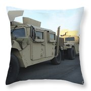 Humvees Sit On The Pier At Morehead Throw Pillow